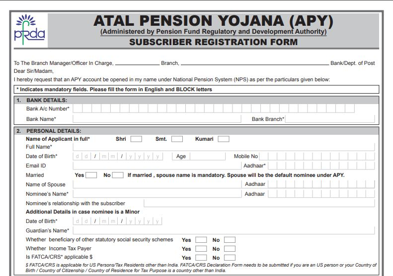 Atal Pension Yojana aplication form