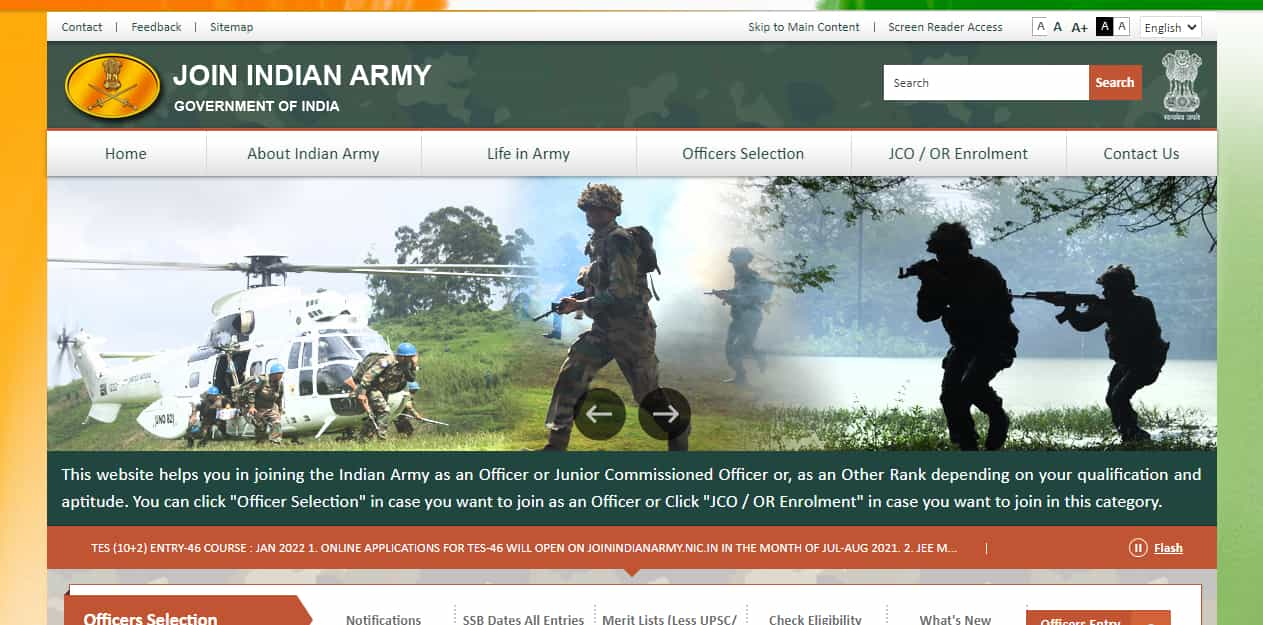 Join Indian Army Indian Defence Online Form