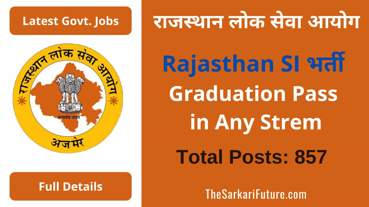 RPSC Rajasthan Police SI Online Application Form 2021