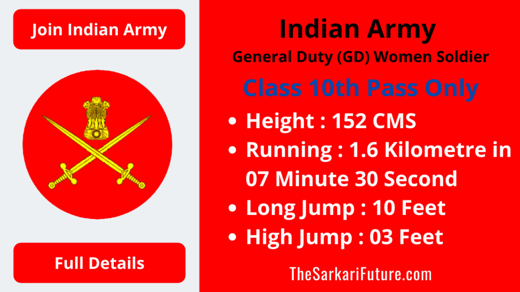 Indian Army GD Women Soldier Online Application Form 2021